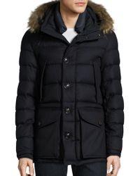 Moncler Rethel Fur-trim Wool Down Puffer Jacket