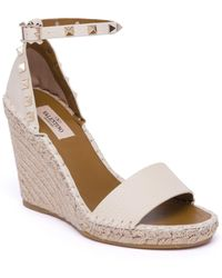 Valentino - Rockstud Double Leather Espadrille Wedge Sandals - Lyst