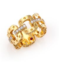 Roberto Coin - Pois Moi Diamond & 18k Yellow Gold Chain Band Ring - Lyst