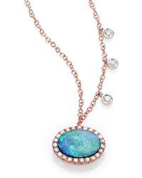 Meira T - Opal, Diamond & 14k Rose Gold Pendant Necklace - Lyst