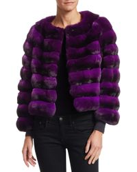 Saks Fifth Avenue - Collarless Chinchilla Fur Jacket - Lyst