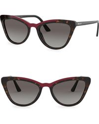 bd8da33916d Lyst - Prada Pr 64us 1ab5s0 Black Cat-eye Sunglasses