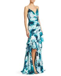 THEIA - Ruffled Watercolor Hibiscus-print Gown - Lyst