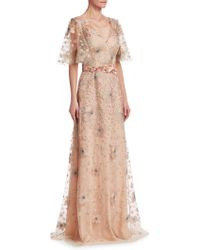 David Meister - Short Sleeve Floral Embellished Gown - Lyst
