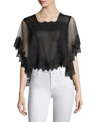 BCBGMAXAZRIA - Lace Trimmed Top - Lyst