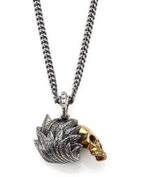 King Baby Studio - Alloy Skull With Silver Raven Wing Pendant Necklace - Lyst