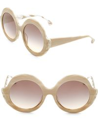 Alice + Olivia - Stacey Round Nude Sunglasses - Lyst