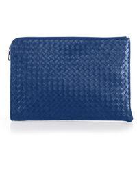 24a13e0a8db1 Bottega Veneta Tricolor Woven Slim Briefcase in Brown for Men - Lyst