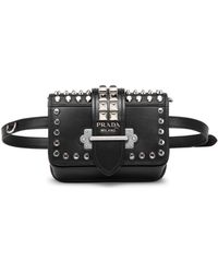 9a4e0a700995 Prada - Women's Medium Cahier Studded Leather Belt Bag - Black - Lyst
