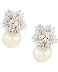 Fallon - Women's Starburst Faux-pearl Drop Earrings - Silver - Lyst