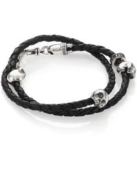 King Baby Studio - Thin-braided Double Wrap Leather Bracelet - Lyst