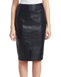 Saks Fifth Avenue - Collection Zip Leather Pencil Skirt - Lyst