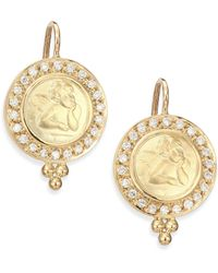 Temple St. Clair | Angels Pave Diamond & 18k Yellow Gold Drop Earrings | Lyst