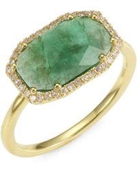 Meira T - 14k Yellow Gold, Emerald & Diamond Cocktail Ring - Lyst