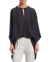 Brunello Cucinelli - Washed Silk Keyhole Top - Lyst