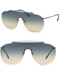 Prada - Linea Rossa 137mm Statement Silver & Blue Aviators - Lyst