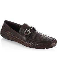 Ferragamo - Parigi Woven Leather Metal Bit Loafers - Lyst
