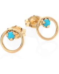 Zoe Chicco - Small Circle Turquouise & 14k Yellow Gold Stud Earrings - Lyst
