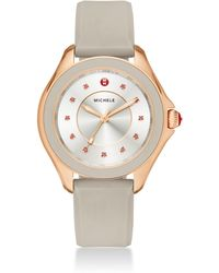 Michele Watches - Cape Topaz, Rose Goldtone Stainless Steel & Silicone Strap Watch/taupe - Lyst
