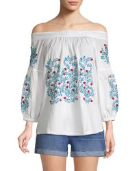 Roberta Roller Rabbit - Off-the-shoulder Embroidery Peasant Top - Lyst