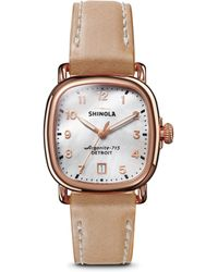 Shinola - The Guardian Mother-of-pearl Leather Strap Watch - Lyst
