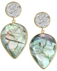 Shana Gulati - Horatio 18k Gold-plated, Diamond & Labradorite Drop Earrings - Lyst