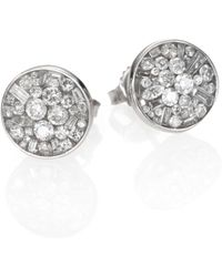Plevé - Ice Diamond & 18k White Gold Button Earrings - Lyst