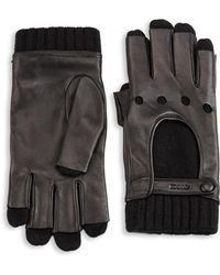 Gucci - Cashmere Lined Leather Moto Gloves - Lyst