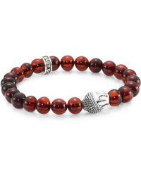King Baby Studio - Amber & Sterling Silver Meditating Buddha Bracelet - Lyst