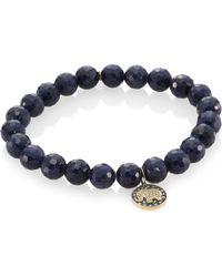 Sydney Evan - 14k Two-tone Gold, Blue Sapphire Faceted Rondelle & Diamond Elephant Bracelet - Lyst