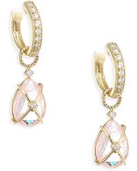 Jude Frances - Lisse Tiny Crisscross Wrapped Diamond & Morganite Earring Charms - Lyst
