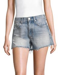 AMO - High-rise Rosebowl Slit Hem Denim Shorts - Lyst