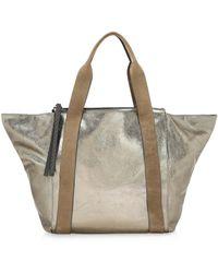 Brunello Cucinelli - Metallic Leather Zip Tote - Lyst