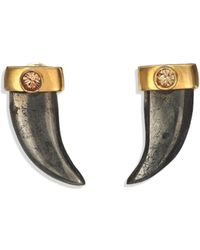House of Lavande - Batari Pyrite & Crystal Horn Stud Earrings - Lyst