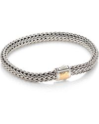 John Hardy - Classic Chain Small Hammered 14k Bonded Yellow Gold Station Sterling Silver Bracelet - Lyst