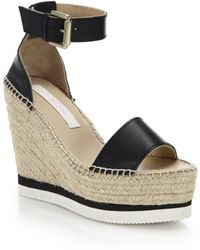 See By Chloé - Glyn Leather Espadrille Wedge Platform Sandals - Lyst