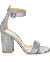 Gianvito Rossi - Women's Metallic Leather Block-heel Sandals - Silver - Lyst