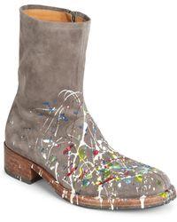 Maison Margiela - Paint Splatter Suede Boots - Lyst