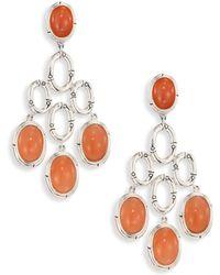 John Hardy - Bamboo Peach Moonstone & Sterling Silver Chandelier Earrings - Lyst