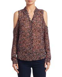 PAIGE - Bellini Cold Shoulder Floral Silk Blouse - Lyst