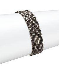Chan Luu - Gunmetal, Sterling Silver & Leather Multi-row Beaded Bracelet - Lyst