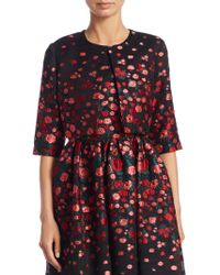 Lela Rose - Cropped Floral Silk Jacket - Lyst