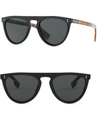 1886b3d58652 Burberry - Men s 54mm Keyhole D-shape Sunglasses - Black - Lyst