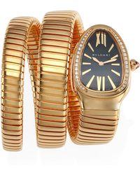 BVLGARI - Serpenti Rose Gold & Diamond Double Twist Watch - Lyst