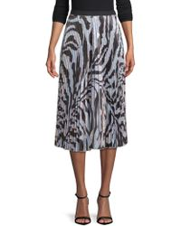 DELFI Collective - Clara Pleated Zebra-print Midi Skirt - Lyst
