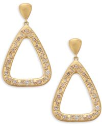 Bavna - 18k Yellow Gold Geometric Diamond Drop Earrings - Lyst