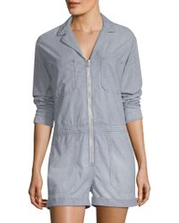 AG Jeans - Striped Zip-front Romper - Lyst