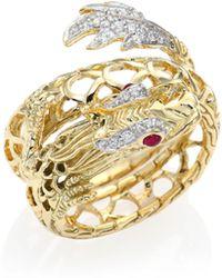 John Hardy - Legends Naga Diamond, Ruby & 18k Yellow Gold Coil Ring - Lyst