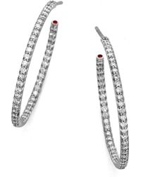 Roberto Coin - Diamond & 18k White Gold Large Hoop Earrings/1 - Lyst