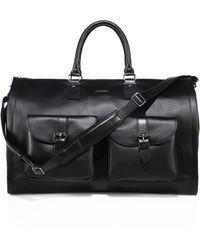 Hook + Albert - Perforated Leather Garment Weekender Bag - Lyst